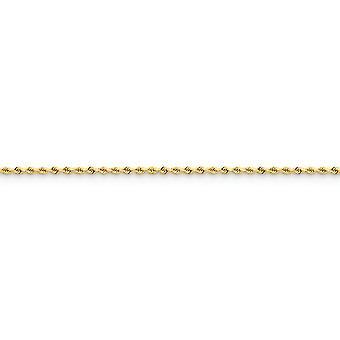 14kイエローゴールドソリッドポリッシュロブスタークロークロークロークロークロー2.0mmスパークルカットロープアンクレットロブスタークロージュエリーギフト女性のための -