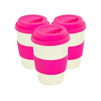 Reusable Coffee Cups - Bamboo Fibre Travel Mugs with Silicone Lid, Sleeve - 350ml (12oz) - Pink - Pack of 3