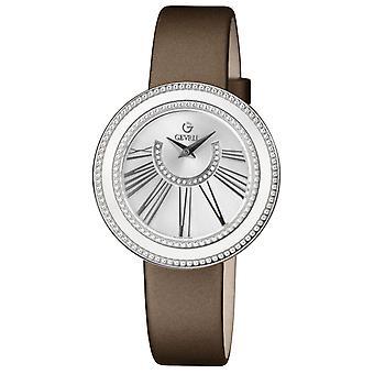 Gevril Kvinnor' s 3240,2 Fifth Avenue Diamond Silver Dial Brown Satin Watch