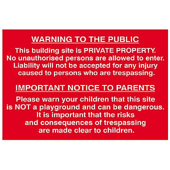 Scan Building Site Warning To Public And Parents - PVC 600 x 400mm SCA4251