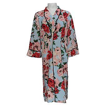 Laurie Felt Women's 3/4 Slv Printed Kimono Duster Cardi Blue A352558