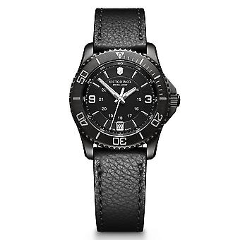 Victorinox MAVERICK Small Black Edition Women's Watch, svart urtavla, svart läderrem - 34mm