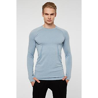 Jerf Mens Maine Blue Long Sleeves Tee Shirt