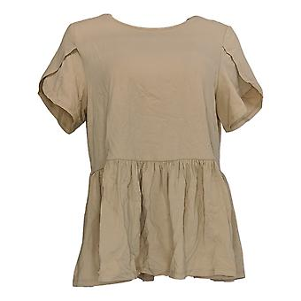 DG2 por Diane Gilman Women's Top Bege Tunic Cotton Short Sleeve 686-556