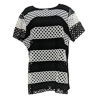 Isaac Mizrahi Live! Women's Top Striped Lace Front Tunic Black A286127