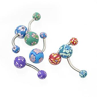Bauch-Taste-Ringe Blume bemalt Fimo Design Pack von 6 14ga chirurgischen Stahl Bj43884