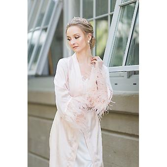 Full Blush Satin Robe With Feather Trimming Andsatin Belt To Match