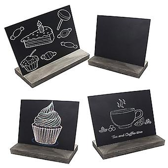 Wooden Mini Black Bord With 3 Chalks, Wood Base Stand Rustic Style, Tabletop,