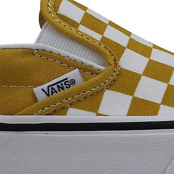 Vans Classic Slip-On Æggeblomme Gul/Hvid Skakternet VN0A38F7VLY1 Mænd's