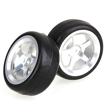 4 sady hladké gumové pneumatiky a 5 lúče striebristý disky kolies pre RC1:10 Auto