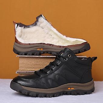 Winter Men Boots Wool Fur, Thick Composite Sole, Casual Shoes, Cowhide, Cuir
