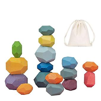 Rainbow Wooden Stone - Jenga Building Blocks