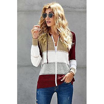 Sweat à capuche en tricot Zippé Avant Zippé