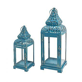 Rebecca Furniture Set Lanterns Candle holder Blue Metal Glass 39x14.5x14.5