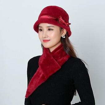Femmes Warm Knitted Skullies Rabbit Fur Beanies Solid Color Mink Peluche Bow Baggy