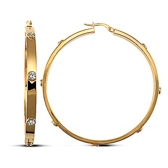 Jewelco London Ladies 9ct Yellow Gold White Round Brilliant Cubic Cyrkonia Square Tube 4mm Hoop Kolczyki 53mm