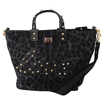 Blue Leopard Love Patch Studs Shopping Tote  Bag