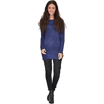 Roll Neck Fitted Tunic Jumper - One Size UK 6-10 - Negro y Azul