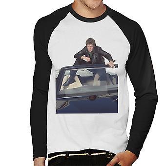 Knight Rider Michael Knight Sitting In KITT Men's Baseball Long Sleeved T-Shirt