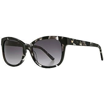 Whistles Modern Fine Square Sunglasses - Black Tortoise Shell
