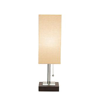 Lampe de table rectangulaire en métal d'ombre enveloppée de tissu, beige et noir
