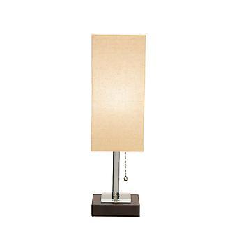 Lámpara de mesa de metal de sombra rectangular envuelta envuelta, beige y negro