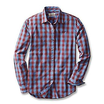 Goodthreads Men's Slim-Fit Slim-Fit Long-Sleeve Gingham Plaid Poplin Camicia, Blu/Burgu...