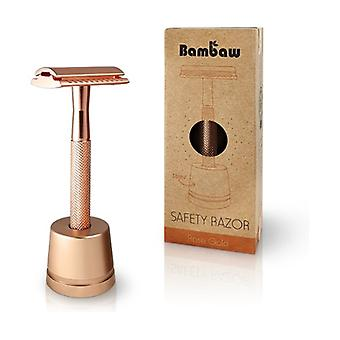 Rose gold stainless steel razor with holder 1 unit