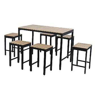 Charles Bentley Polywood and Extrusion Aluminium 6 Seater Bar Style Dining Set Garden Black Industrial Modern