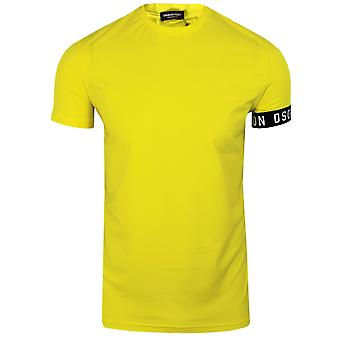 Dsquared2 men's yellow cuff detail t-shirt