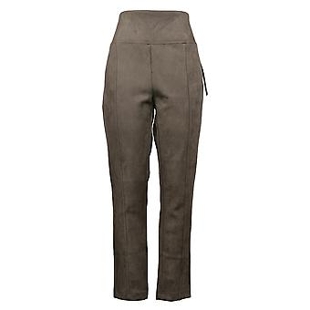 Andrew Marc Women's Pants Taupe Faux Suede Pull On Elastic Waist Green