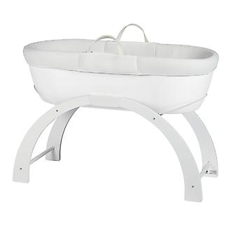 Shnuggle dreami moses basket and curve rocking stand - white