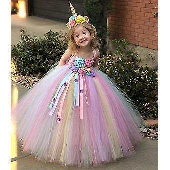 Mädchen Pastell Einhorn Blume Tutu Kleid, Kinder häkeln Tüll Strap Ballkleid