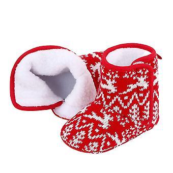 Nowflake Santa Design Winter Warm Slippers Anti-slip Infant Newborn Booties