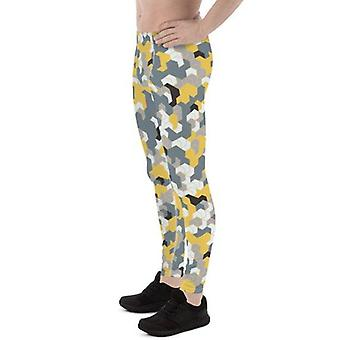Mens Leggings - Yellow Sports Camo Leggings