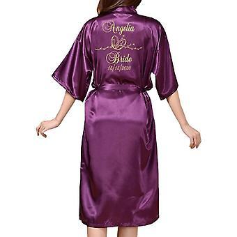 Lange Robe Hochzeit Robe für Braut Party Emulation Seide weiches Haus Bademantel
