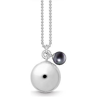 Quinn - Silberhalskette mit schwarzer Süßwasserperle, Glam_Globe - 027600908