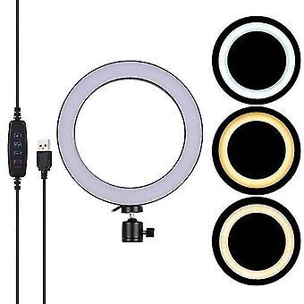 20cm/8inch Mini LED Video Ring Light Lamp 3 Modes d'éclairage Réglable Luminosité USB Powered