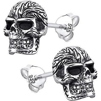MATERIA Herren Ohrstecker Totenkopf Schdel aus 925 Silber Ohrringe Schädel gothic schwarz antik mit