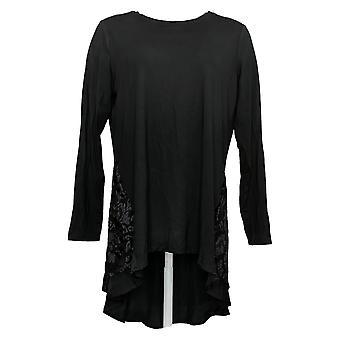 LOGOTIPO Por Lori Goldstein Women's Rayon Top W/ Burnout Velvet Black A390990
