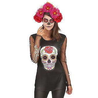 Kleurrijke skelet t-shirt vrouw Dia de los muertos