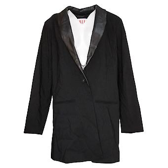 All Worthy Hunter McGrady Women's Blazer Plus Faux Leather Black A388490