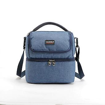 Portable Insulated Picnic 600D Oxford Solid Thermal Lunch box Food Picnic Cooler Tote(Blue)