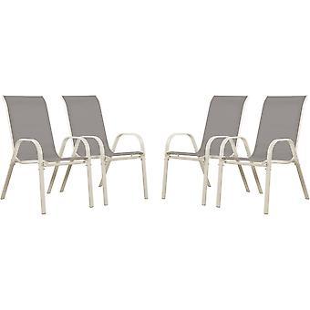 Ensemble de 4 chaises jardin Textileno «Cordoba» - Phoenix - Gris clair