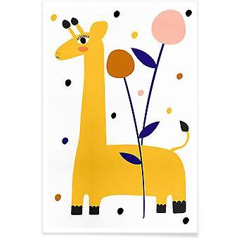JUNIQE Print - Stand Tall - Affiche girafe en couleur