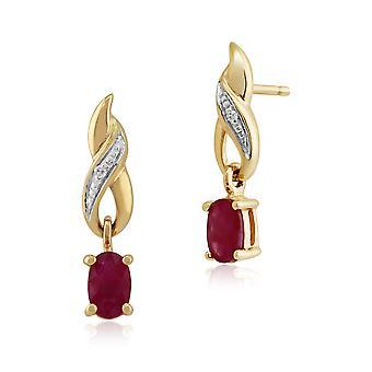 Art Nouveau Oval Ruby & Diamond Drop Earrings in 9ct Yellow Gold 8731