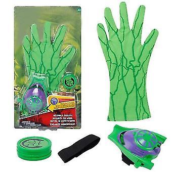 2Pcs green kids superhero magic gloves with wrist ejection launcher az19022