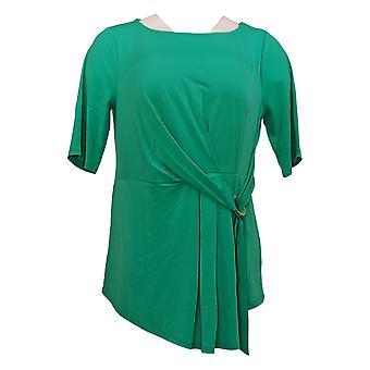 إيمان العالمية شيك المرأة الأعلى الفاخرة قصيرة الأكمام عقدة الجبهة الخضراء 685794