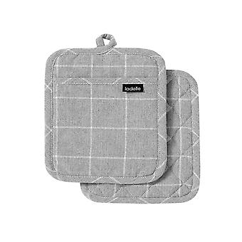 Ladelle Eco Check Set of 2 Pot Holders, Grey