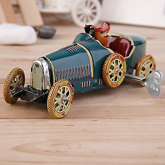 Vintage Metal Tin Sports Car With Driver Clockwork Wind Up Toy Collectible